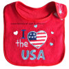 Customized Design Cotton Terry Red Embroidered Applique Baby Bandana Drool Bibs