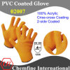 10g Orange 100% Acrylic Fiber Knitted Glove with 2-Side Orange PVC Criss-Cross Coating/ En388: 124X