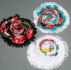 Fashion Design 100% Cotton Round Beach Towels Wholesale with Tassels Fringe, ODM/OEM Are Welcome