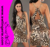 Wholesale Elegant Leopard Crosspieced Sexy Clubwear Party Lingerie Dress 5427-Brown