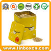 Square Pet Food Metal Storage Tin Can for Bird Treats