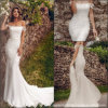 off Shoulder Bridal Gown Mermaid Lace Itlay Satin Wedding Dress H1909