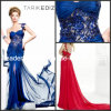 Sheath One-Shoulder Court Train Beaded Crystal Applique Chiffon Formal Dresses Rz45