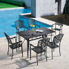 Foshan Patio Outdoor Furniture Aluminum Rectangle Dining Table with Six Chairs