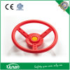 Plastic Pirate Ship Steering Wheel Mounted on Swing Set