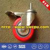 Replacement Heavy Duty Polyurethane Plastic Swivel Threaded Stem Caster Wheel with Brake
