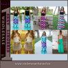 Strapless Wave Print Maxi Beach Ladies Casual Summer Dress (TONY6071)