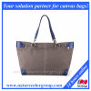 Designer Causal Canvas and Leather Tote Bag, Large