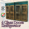 4 Glass Doors Stainless Steel Refrigerator for Kitchen