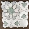 Elegant Flower Leaf Shaped Warterjet Mix Marble Mosaic Tiles for Decoration