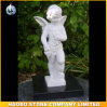 Hand Carved Stone Cherub Angel Sculpture
