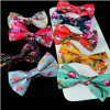 Cotton Fabric Flower Printed Bow Tie (PM010)