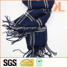 100% Acrylic Fashion Navy Checked Woven Scarf with Fringe