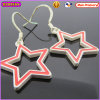 Boosin Matte Light Silver Star Shape Enamel Metal Earrings (21509)