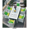 China Factory White Rattan Leisure Garden Furniture with Six Chairs