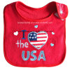 Promotional Cheap Red Cotton Terry Cloth Red Embroidered Applique Baby Drool Bib