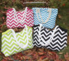 Monogrammed Canvas Chevron Tote Beach Bags