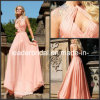 Backless Coral Evening Gowns Rhinestones Long Party Dress E13232