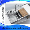 China Manufacturer Double Bowl Stainless Steel Sink with Drainer