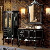Luxury Black Laquar Solid Oak Wood Classical Antique Bathroom Cabinet (ML-8914)
