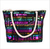 Beach Bag Canvas Handbags Korean Trend Bronzing Letters Casual Mian Sheng Portable Shoulder Bag
