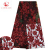 Red Color Flower Velvet Embroidered Tulle Lace with Glitter for Dress
