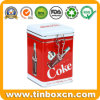 Square Airtight Tin Can with Metal Clasp for Beverages Cola