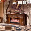 Luxury Carved Solid Wooden Electric Fireplace Mantel (GSP15-001)