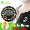 Engraving Metal Fabric Round Enamel Lapel Pin for Gift Face