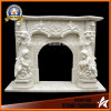 White Marble Fireplace Mantel with Angel Mf1714