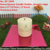 4mm Light Red Straight Edge Glass Candle Holder