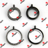 25mm/30mm Stainless Steel Black Crystal and Plain Glass Lockets (SLK60129)