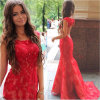 Backless Lace Prom Gown Red Vestidos Party Bridal Evening Dress Ld15266
