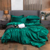 Double King Size Pure Satin Silk Bedding Set Home Textile Dark Green Bed Bed Cloth Sheet Flat Sheet ...