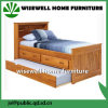 Pine Wood Captain Twin Bookcase Bed with Trundle and Storage