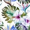 Tropic Flowers Palm Tree Canvas Print Painting