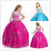 Luxury Spaghetti Crystal Sequin Taffeta Ball Girl Pageant Dress (XZ389)