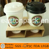 Disposable 2-Cup Paper Coffee Cup Holder Tray