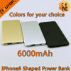 6000mAh iPhone6 Shaped Metal Power Bank with Polymer Lithium battery