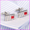 Fashion Red Diamond Silver Plating Copper Cuff Link