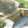 Special shaped steel grating cover for artificial waterfall