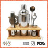 Ws-C22 Wood Tray Indoor Stainless Steel Cocktail Shaker Set
