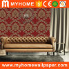 Red Big Damask Floral Islamic Wallpaper for Wall Decoration