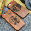 Custom Carving Patterns Wood Phone Case for iPhone 6 6s Mobile Cover
