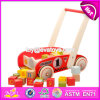 New Design Storage Cart Wooden Push Along Toys with Blocks W16e067