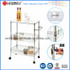 Chrome Metal Home Kitchen Basket Rack Trolley with PP Mat
