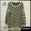 Women Chequer Oversized Round Neck Sweater
