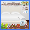 100% Polyester Fitted Style Queen Bed White Waterproof Mattress Cover