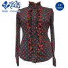 Gray-Red Stand Collar Button Lace Slim Fashion Ladies Blouse