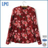 Women′s Holiday Red Floral Printed Chiffon Blouse